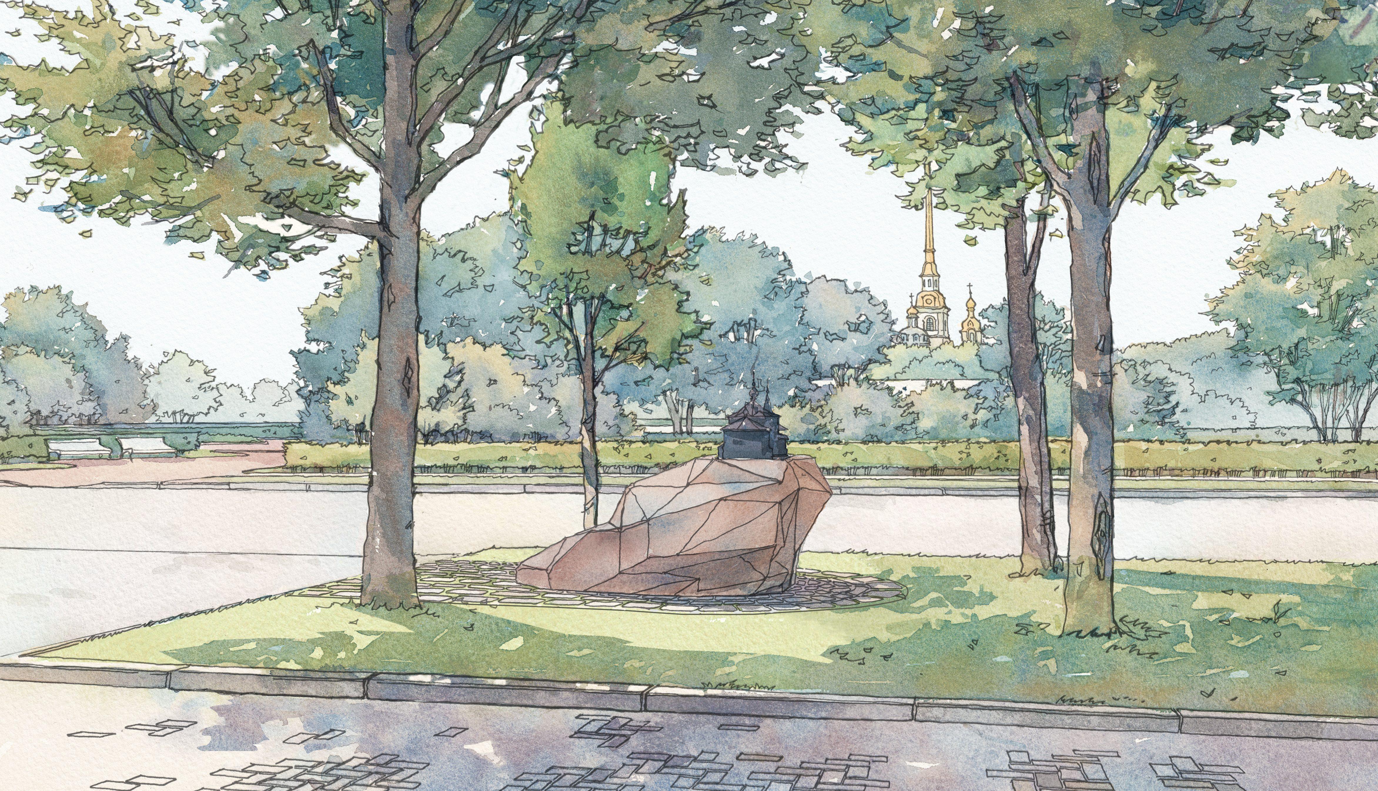 Памятный знак на Троицкой площади